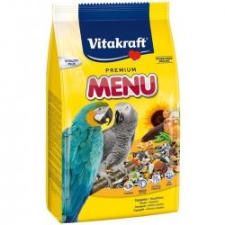 Корм для крупных попугаев Vitakraft Menu, 1 кг10601Основной корм для крупных попугаев Vitakraft Menu, обогащен минералами и витаминами, полностью сбалансирован. Содержит зерно, обогащенное витаминами, орехи, мед, растительные жиры и минеральные добавки. Состав: зерно, злаковые, орех, минеральные добавки, сахар, мед. Содержит витамины, белок 11.6%, витамин А, жир 10.3%, витамин Д3, целлюлоза 7,8%, витамин С, зола 5,4%, витамин В2, влажность11,3%, йод. Рекомендации по кормлению: суточная норма 25-30 грамм (4 столовые ложки).Товар сертифицирован.