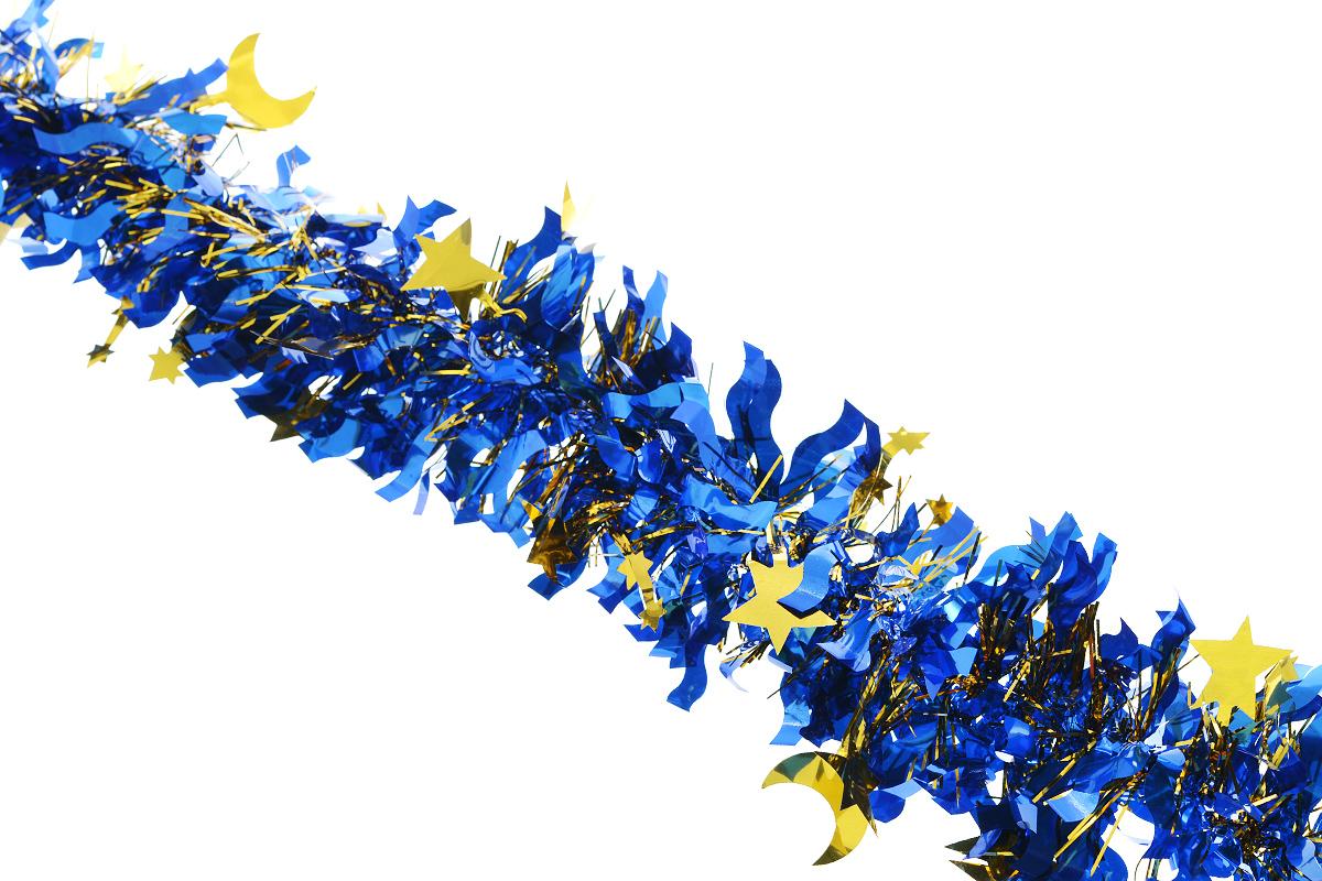 Мишура новогодняя Sima-land, цвет: золотистый, синий, диаметр 9 см, длина 200 см. 825979812306Новогодняя мишура Sima-land, выполненная из фольги с дизайном в виде звездочек и полумесяцев, поможет вам украсить свой дом к предстоящим праздникам. А новогодняя елка с таким украшением станет еще наряднее. Мишура армирована, то есть имеет проволоку внутри и способна сохранять приданную ей форму. Новогодней мишурой можно украсить все, что угодно - елку, квартиру, дачу, офис - как внутри, так и снаружи. Можно сложить новогодние поздравления, буквы и цифры, мишурой можно украсить и дополнить гирлянды, можно выделить дверные колонны, оплести дверные проемы. Коллекция декоративных украшений из серии Зимнее волшебство принесет в ваш дом ни с чем несравнимое ощущение праздника! Создайте в своем доме атмосферу тепла, веселья и радости, украшая его всей семьей.