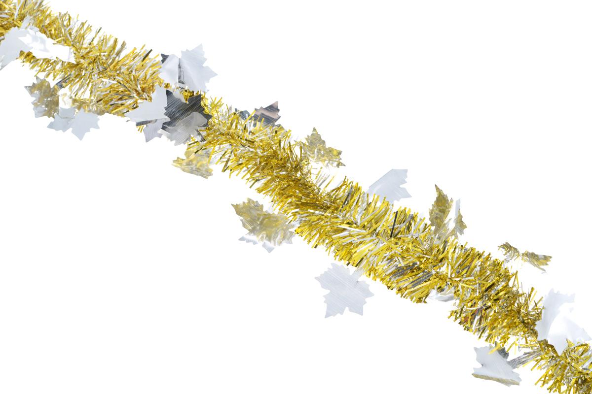 Мишура новогодняя Sima-land, цвет: золотистый, серебристый, диаметр 5 см, длина 200 см. 702606SL250 503 09Новогодняя мишура Sima-land, выполненная из фольги с дизайном в виде кленовых листочков, поможет вам украсить свой дом к предстоящим праздникам. А новогодняя елка с таким украшением станет еще наряднее. Мишура армирована, то есть имеет проволоку внутри и способна сохранять приданную ей форму. Новогодней мишурой можно украсить все, что угодно - елку, квартиру, дачу, офис - как внутри, так и снаружи. Можно сложить новогодние поздравления, буквы и цифры, мишурой можно украсить и дополнить гирлянды, можно выделить дверные колонны, оплести дверные проемы. Коллекция декоративных украшений из серии Зимнее волшебство принесет в ваш дом ни с чем несравнимое ощущение праздника! Создайте в своем доме атмосферу тепла, веселья и радости, украшая его всей семьей.