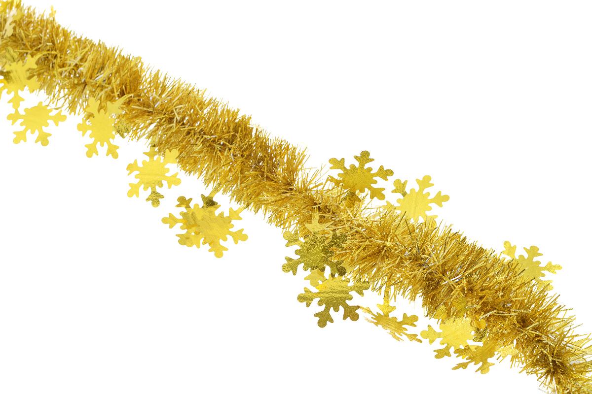 Мишура новогодняя Sima-land, цвет: золотистый, диаметр 5 см, длина 200 см. 702632SL250 503 09Новогодняя мишура Sima-land, выполненная из фольги с дизайном в виде снежинок, поможет вам украсить свой дом к предстоящим праздникам. А новогодняя елка с таким украшением станет еще наряднее. Мишура армирована, то есть имеет проволоку внутри и способна сохранять приданную ей форму. Новогодней мишурой можно украсить все, что угодно - елку, квартиру, дачу, офис - как внутри, так и снаружи. Можно сложить новогодние поздравления, буквы и цифры, мишурой можно украсить и дополнить гирлянды, можно выделить дверные колонны, оплести дверные проемы. Коллекция декоративных украшений из серии Зимнее волшебство принесет в ваш дом ни с чем несравнимое ощущение праздника! Создайте в своем доме атмосферу тепла, веселья и радости, украшая его всей семьей.