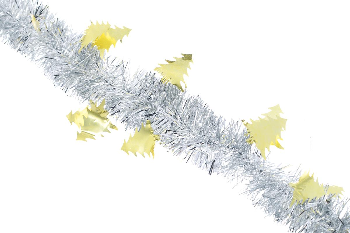 Мишура новогодняя Sima-land, цвет: серебристый, золотистый, диаметр 5 см, длина 200 см. 7026041090578Новогодняя мишура Sima-land, выполненная из фольги с дизайном в виде елочек, поможет вам украсить свой дом к предстоящим праздникам. А новогодняя елка с таким украшением станет еще наряднее. Мишура армирована, то есть имеет проволоку внутри и способна сохранять приданную ей форму. Новогодней мишурой можно украсить все, что угодно - елку, квартиру, дачу, офис - как внутри, так и снаружи. Можно сложить новогодние поздравления, буквы и цифры, мишурой можно украсить и дополнить гирлянды, можно выделить дверные колонны, оплести дверные проемы. Коллекция декоративных украшений из серии Зимнее волшебство принесет в ваш дом ни с чем несравнимое ощущение праздника! Создайте в своем доме атмосферу тепла, веселья и радости, украшая его всей семьей.