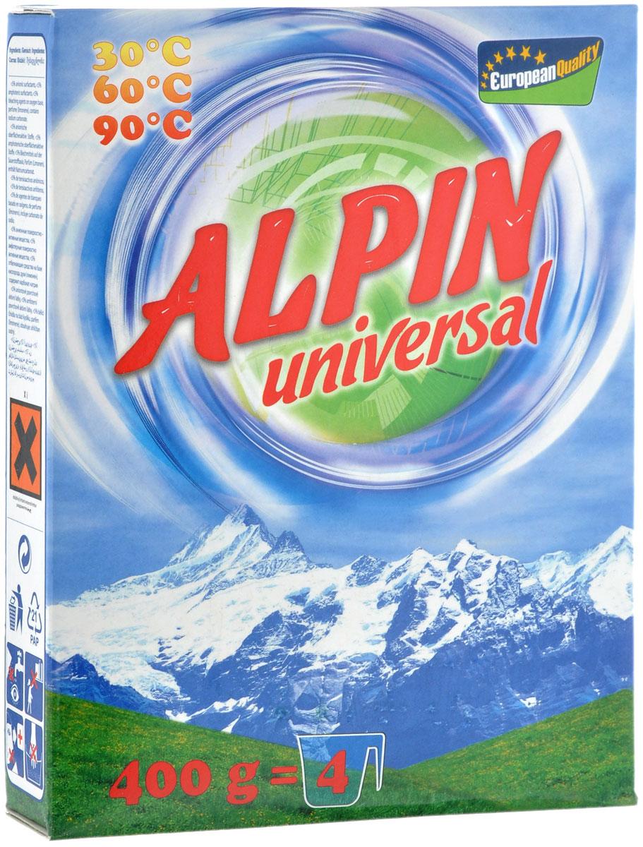 Стиральный порошок Alpin Universal, 400 г13101Стиральный порошок Alpin Universal с активным кислородом, обладает очень хорошими стирающими свойствами даже при невысокой температуре воды. Устраняет пятна, не повреждая волокна ткани. Уникальная новая формула стирального порошка для любых видов тканей, в том числе и цветных, позволяет использовать его в любых режимах при любой температуре. Ваши вещи никогда не деформируются и не полиняют.Товар сертифицирован.