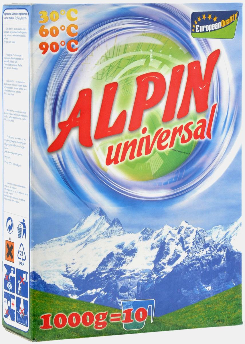 Стиральный порошок Alpin Universal, 1 кг52013200Стиральный порошок Alpin Universal с активным кислородом, обладает очень хорошими стирающими свойствами даже при невысокой температуре воды. Устраняет пятна, не повреждая волокна ткани. Уникальная новая формула стирального порошка для любых видов тканей, в том числе и цветных, позволяет использовать его в любых режимах при любой температуре. Ваши вещи никогда не деформируются и не полиняют.Товар сертифицирован.