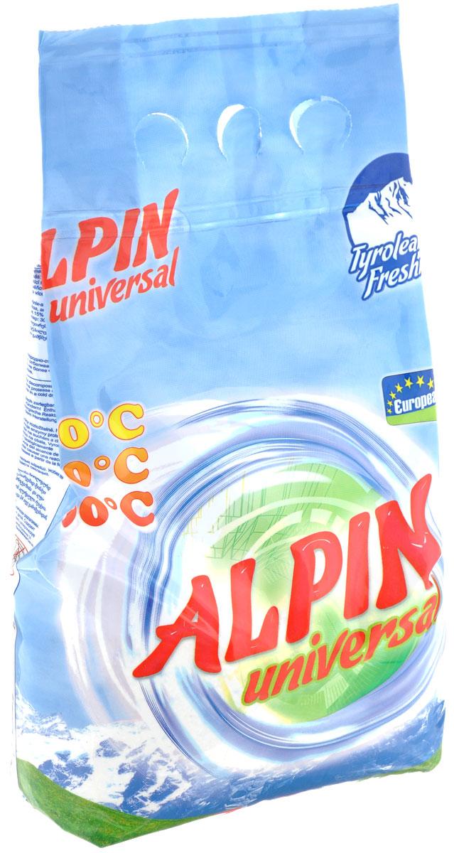 Стиральный порошок Alpin Universal, 1,5 кг0130Стиральный порошок Alpin Universal с активным кислородом, обладает очень хорошими стирающими свойствами даже при невысокой температуре воды. Устраняет пятна, не повреждая волокна ткани. Уникальная новая формула стирального порошка для любых видов тканей, в том числе и цветных, позволяет использовать его в любых режимах при любой температуре. Ваши вещи никогда не деформируются и не полиняют.Товар сертифицирован.
