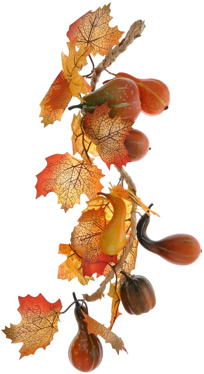 Муляж Fancy Fair Тыквы в связке, длина 60 см74-0120Муляж Fancy Fair Тыквы в связке выполнен до поразительного натурально, что позволит создавать в интерьере самые разнообразные декоративные композиции. Муляж исключительно долго сохраняет свой натуральный и свежий вид. Изделие представляет собой плетеную веревочку с маленькими тыквами. Такой муляж - удачный вариант для украшения кухни, а также осеннего сада. Длина связки: 60 см.