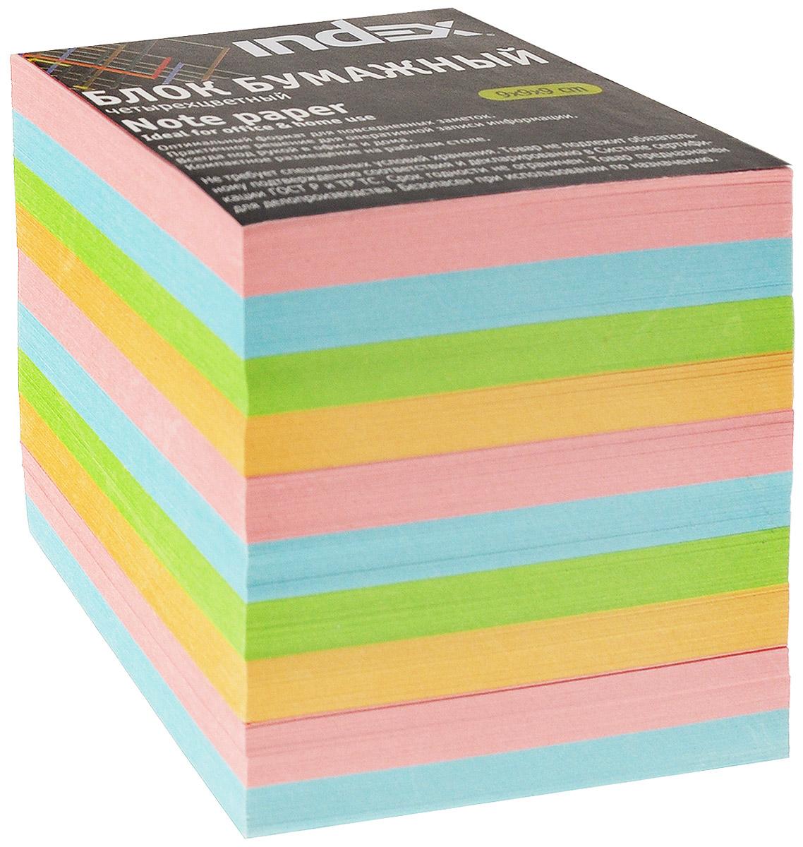 Index Блок для записей цвет желтый салатовый голубой розовый0703415Бумага для записей Index - практичное решение для оперативной записи информации в офисе или дома. Блок состоит из листов разноцветной бумаги, что помогает лучше ориентироваться во множестве повседневных заметок.А яркий блок-кубик на вашем рабочем столе поднимет настроение вам и вашим коллегам!