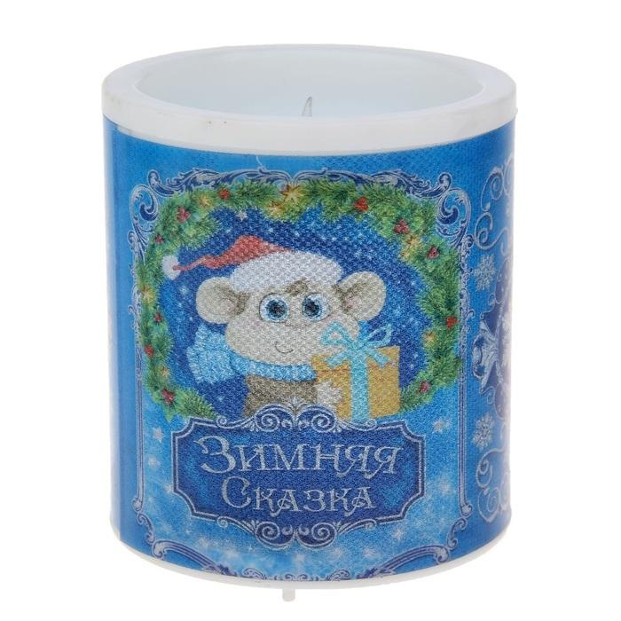 Светильник-свечка Sima-land Зимняя сказка, высота 8,5 см свеча ароматизированная sima land лимон на подставке высота 6 см