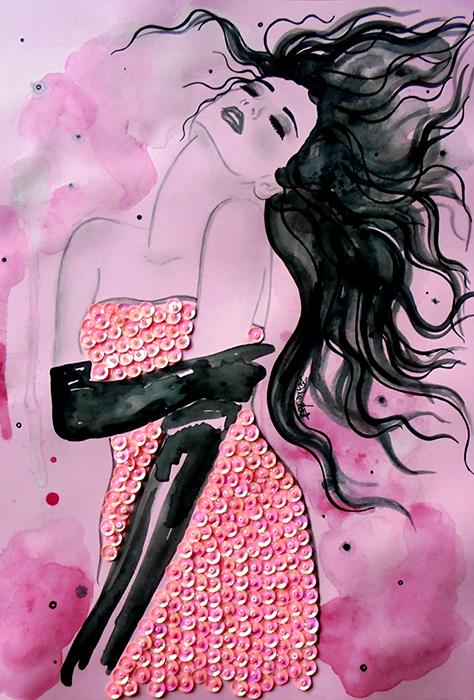 Авторская картина Она. Графика, 30 х 20 см. Художник Ирина Баст1712Картина-миниатюра Она. Fashion illustration. Легкая графика, украшенная красивыми объемными пайетками и бисером розового цвета. Свет отражается в пайетках, даря картине приятный золотистый оттенок и перламутровое сияние.Тонированная бумага, акварельные краски, простой карандаш, черный контур, розовые пайетки, розовый бисерКартина не требует дополнительной защиты, ее достаточно повесить на стену. Оформления не нужно. Ронять не рекомендуется.