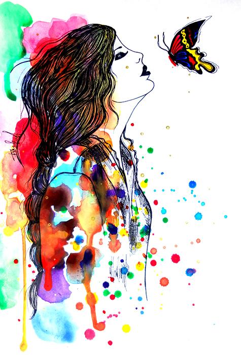 Авторская картина Поцелуй бабочки. Графика, 30 х 20 см. Художник Ирина БастК-223Картина-миниатюра Поцелуй бабочки. Fashion illustration. Легкая графика, созданная акварельными красками и простыми карандашами.Акварельная бумага, акварельные краски, простой карандашКартина не требует дополнительной защиты, ее достаточно повесить на стену. Оформления не нужно. Ронять не рекомендуется.