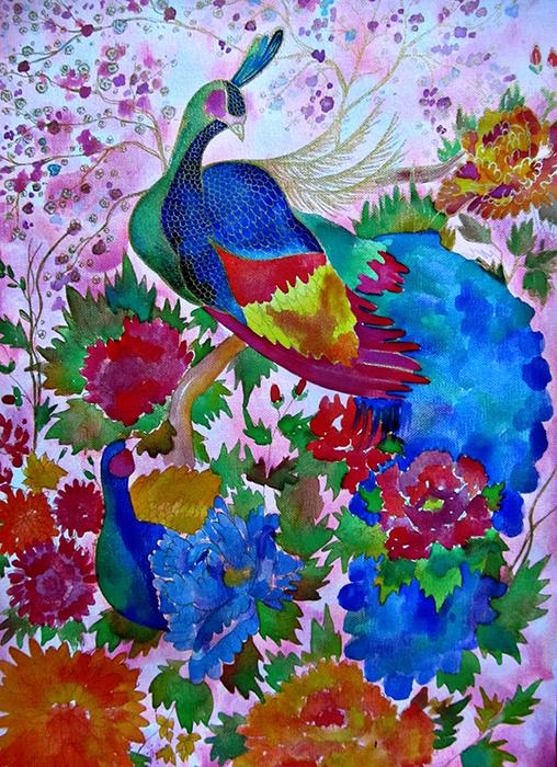 Авторская картина Райский сад. Графика, 40 х 30 см. Художник Ирина Баст1707Райский сад... Сад дивных цветов, которые распускают свои лепестки навстречу теплому солнцу, дарят восхитительный аромат... Сад гуляющих по нему прекрасных павлинов, чьи перья отливают золотым светом... Картина буквально пронизана золотыми нитями, которые красиво переливаются при смене освещения. Павлины начинают сиять при попадании солнечного света.Холст грунтованный листовой, акварельные краски, черный контур, золотой контурКартина не требует дополнительной защиты, ее достаточно повесить на стену. Оформления не нужно. Ронять не рекомендуется.