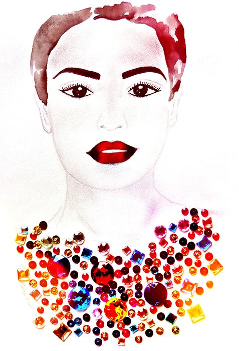 Авторская картина Самая красивая. Графика, 30 х 20 см. Художник Ирина Баст1711Картина-миниатюра Самая красивая. Fashion illustration. Легкая графика, созданная акварельными красками и простыми карандашами.Стразы придают картине особенное сияние, переливаются и отражают свет. Пайетки в колье пришиты вручную.Акварельная бумага, акварельные краски, простой карандаш, стразы, бисерКартина не требует дополнительной защиты, ее достаточно повесить на стену. Оформления не нужно. Ронять не рекомендуется.
