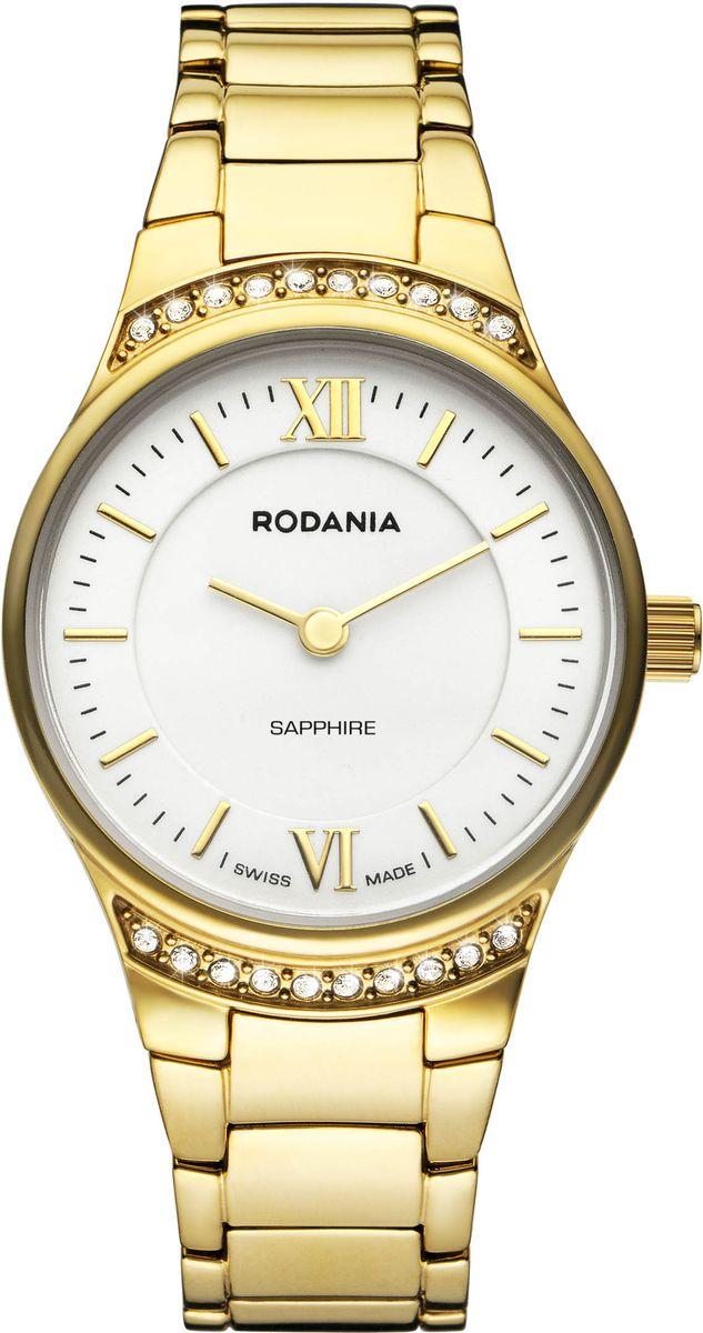 Часы женские наручные Rodania, цвет: белый, золотой. 2512660BM8434-58AEЭлегантные женские часы Rodania выполнены из высоколегированной стали и сапфирового стекла. Изделие дополнено символикой бренда, корпус часов оформлен двадцатью кристаллами Swarovski.Корпус часов выполнен из нержавеющей стали, оснащен кварцевым механизмом Ronda 762 и имеет степень влагозащиты равную 3 atm. Браслет изделия дополнен практичной раскладной застежкой, которая позволит моментально снимать и одевать часы без лишних усилий.Изделие поставляется в фирменной упаковке.Часы Rodania подчеркнут изящность женской руки и отменное чувство стиля у их обладательницы.