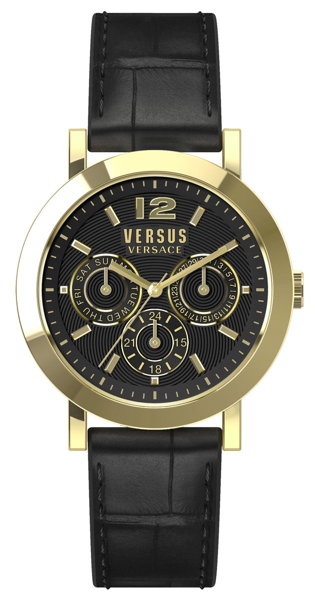 Часы женские наручные Versus Versace, цвет: черный, золотой. SOR020015BM8434-58AEОригинальные женские часы Versus Versace выполнены из нержавеющей стали, натуральной кожи и минерального стекла. Изделие дополнено символикой бренда и ремешком из натуральной кожи с тиснением под рептилию.Корпус часов выполнен из нержавеющей стали, дополнен минеральным стеклом и имеет степень влагозащиты равную 3 atm. Циферблат часов дополнен индикаторами даты. Ремешок дополнен практичной пряжкой, которая позволит моментально снимать и одевать часы без лишних усилий.Часы поставляются в фирменной упаковке.Часы Versus Versace подчеркнут изящность женской руки и отменное чувство стиля у их обладательницы.