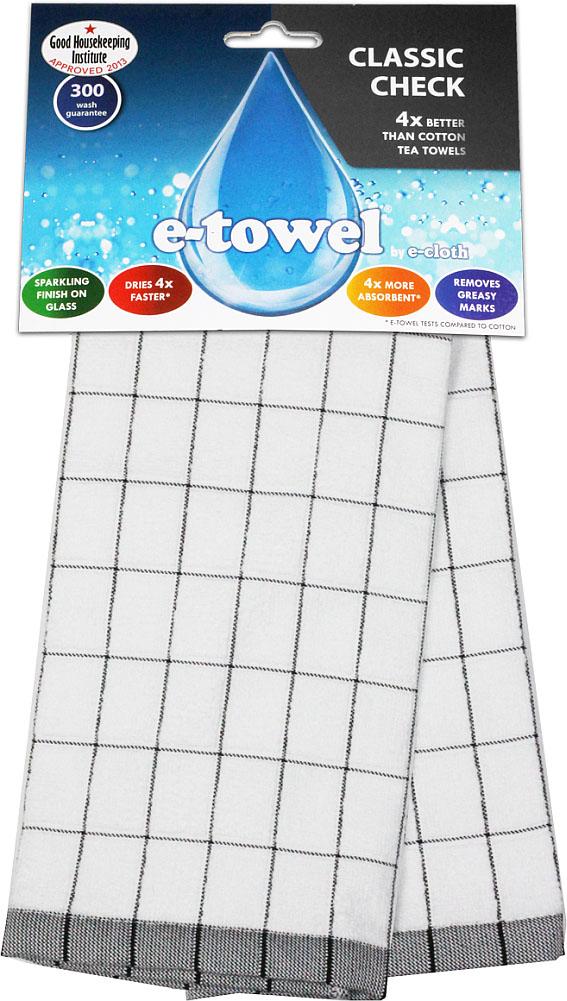 Кухонное полотенце E-cloth Классическая клетка, цвет: белый, черный, 60 см х 40 смVT-1520(SR)Кухонное полотенце E-cloth Классическая клетка изготовлено из смеси волокон e-towel и хлопка. Полотенце имеет классический дизайн с принтом в клетку, поэтому впишется в интерьер любой кухни. Обладает в 4 раза большей впитывающей способностью, чем обычные полотенца. Не оставляет разводов и отпечатков пальцев. Такое полотенце станет прекрасным помощником у вас на кухне. Материал: 60% полиэстер, 40% хлопок.