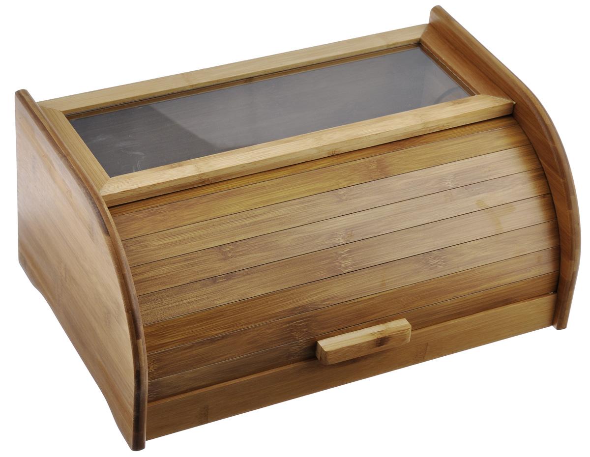 Хлебница Mayer & Boch, 40 см4630003364517Хлебница Mayer & Boch, выполненная в классическом дизайне из бамбука, позволит сохранить ваш хлеб свежим и вкусным. Крышка оснащена герметичной дверцей в виде шторки-жалюзи и деревянной ручкой. Прозрачная пластиковая вставка, позволит вам контролировать наличие выпечки.Эксклюзивный дизайн, эстетика и функциональность хлебницы, делают ее превосходным аксессуаром на вашей кухне. Размер хлебницы: 40 см х 18 см 25 см.