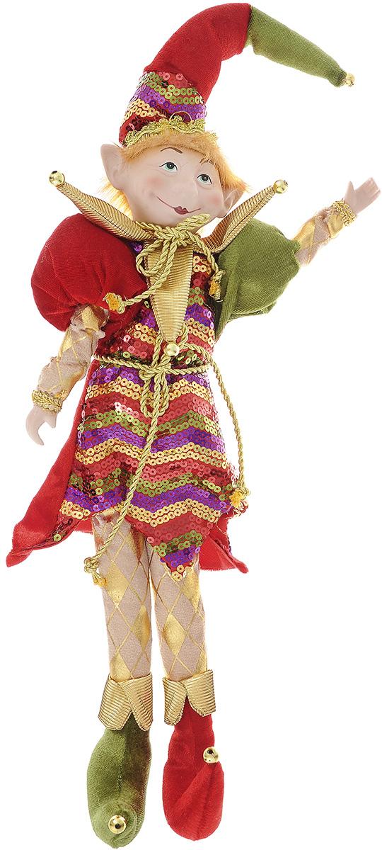 Новогодняя фигурка Its a Happy Day Кукла. Веселый Эльф, цвет: красный, зеленый, 54 смC0038550Новогодняя фигурка выполнена из фарфора и полиэстера в виде Эльфа. Эльф одет в яркий костюм, украшенный блестящими пайетками. Забавный колпак и оригинальные ботинки вызовут улыбку как у ребенка, так и у взрослого. Руки и ноги Эльфа могут сгибаться в разные стороны, поэтому вы можете его даже посадить в любое понравившееся вам место. Его добрый вид и приятная улыбка притягивают к себе восторженные взгляды. Оригинальная фигурка Its a Happy Day Кукла. Веселый Эльф подойдет для оформления новогоднего интерьера и принесет с собой атмосферу радости и веселья. Высота куклы: 54 см.