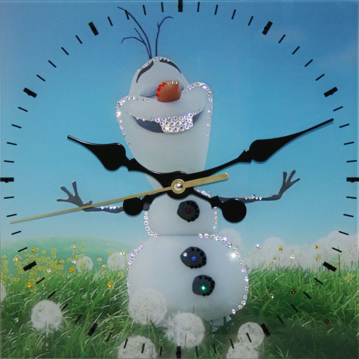 1661 Часы Сваровски Летний снеговик1661Часы без багета, инкрустированные кристалами Сваровски.