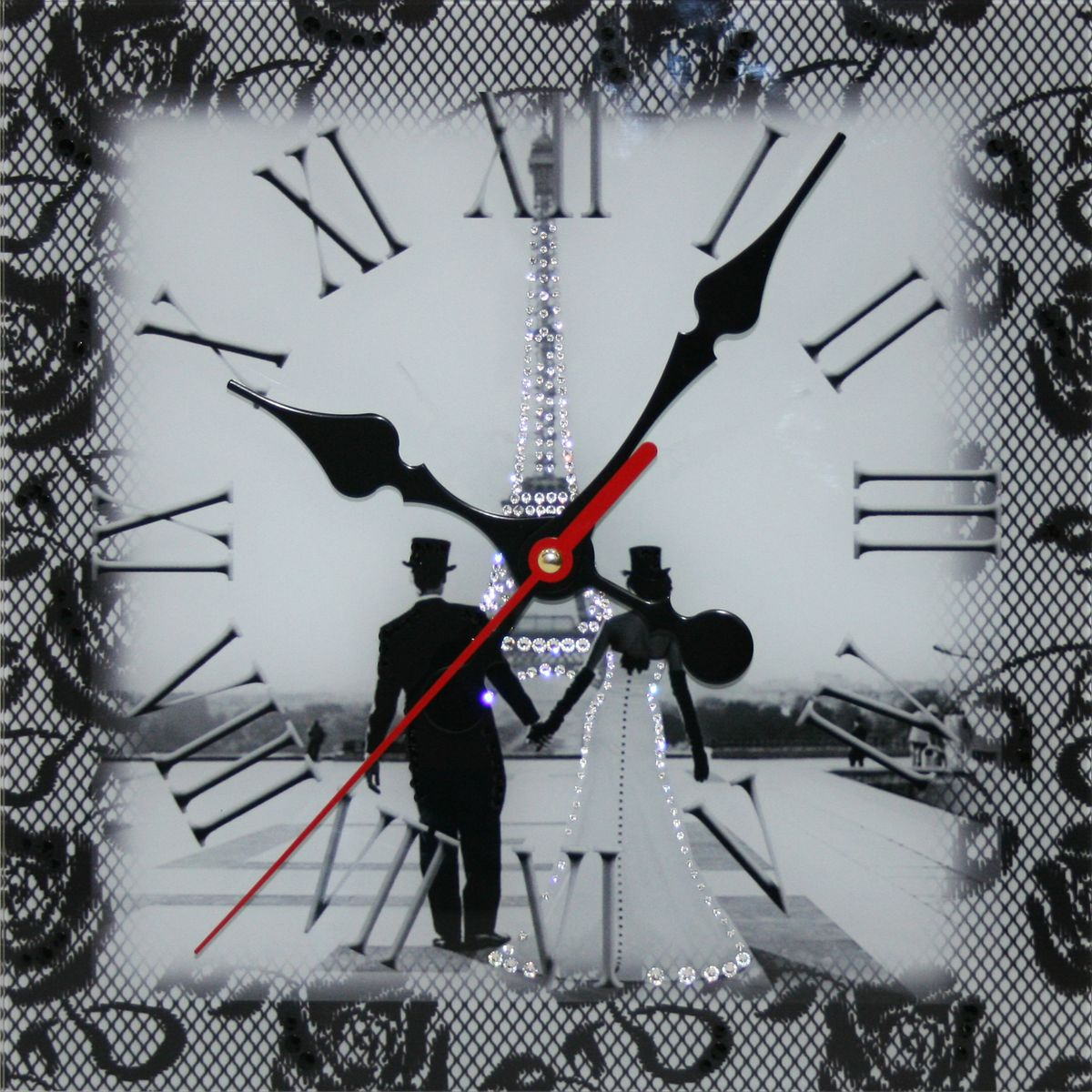 1656 Часы СваровскиСвадебный Париж1656Часы без багета, инкрустированные кристалами Сваровски.