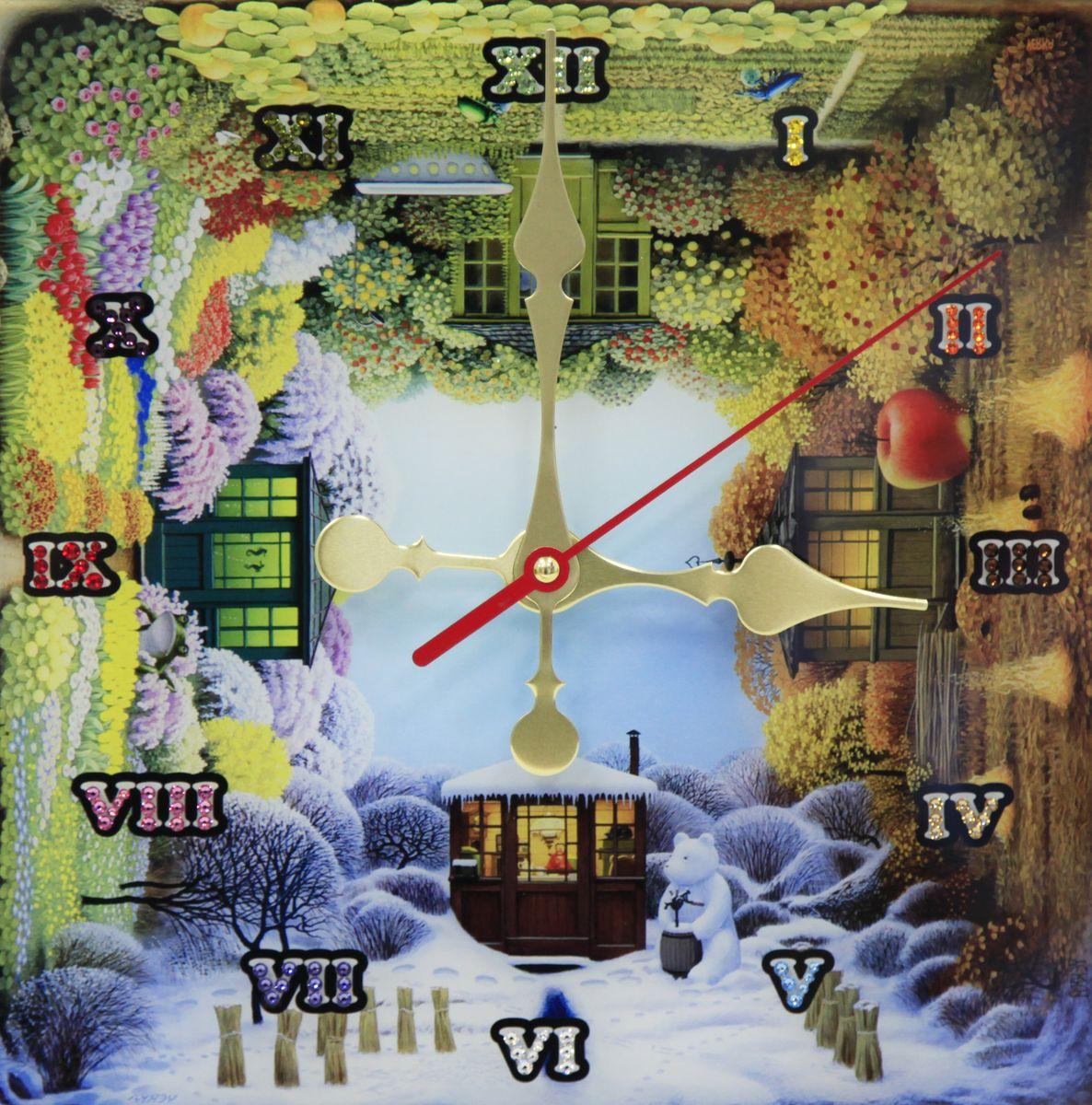 1674 Часы СваровскиВремена года1674Часы без багета, инкрустированные кристалами Сваровски.