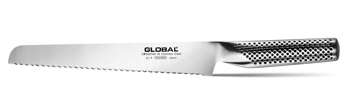 Нож для хлеба Global, длина лезвия 22 смK0910404Бренд Global - выбор многих поваров со всего мира, ножи этого производителя известны своей универсальностью и исключительной ловкостью.Отличительной чертой японских ножей Global являются их рукоятки и уникальная бесшовная конструкция. Рукоятки и лезвия изготовлены из одного, цельного полотна нержавеющей стали, что делает ножи максимально гигиеничными и прочными. На них не скапливается грязь, и их очень легко мыть. Покрытие рукоятки специальными ямочками-впадинами, обеспечивает удобный и надежный захват.Лезвие изготовлено из специального материала Cromova 18 Sanso, который состоит из трех слоев нержавеющей стали (центрального и двух боковых). Центральный слой режущей поверхности сделан из нержавеющей стали Cromova 18 (хром, молибден, ванадий) с твердостью по шкале Роквелла 58-59 единиц и заточен к острому краю, что дает удивительные результаты при резке. Этот слой заключен между двумя боковыми слоями более мягкой нержавеющей стали SUS 410, что помогает защитить лезвие от скалывания и коррозии. Еще одной важной отличительной характеристикой ножа является его идеальная балансировка. Полая ручка ножа заполнена песком, количество которого точно рассчитано, чтобы обеспечить наиболее оптимальное соотношение веса лезвия и рукоятки. Этот метод позволяет добиться максимально точной балансировки.Не рекомендуется использование в посудомоечной машине.