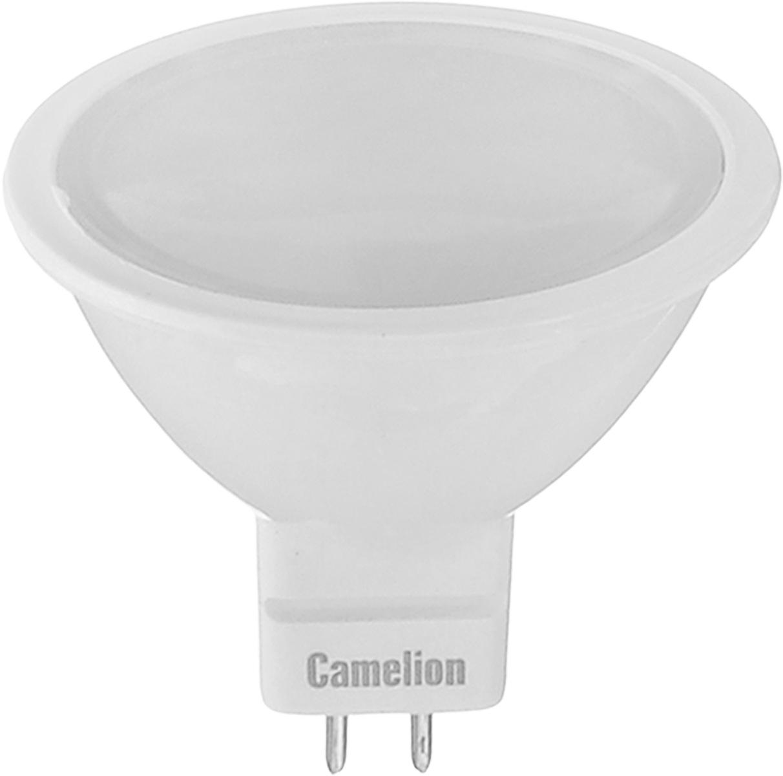 Лампа светодиодная Camelion, теплый свет, цоколь GU5.3, 5W7-A60/830/E27Энергосберегающая лампа Camelion - это инновационное решение, разработанное на основе новейших светодиодных технологий (LED) для эффективной замены любых видов галогенных или обыкновенных ламп накаливания во всех типах осветительных приборов. Она хорошо подойдет для освещения квартир, гостиниц и ресторанов. Лампа не содержит ртути и других вредных веществ, экологически безопасна и не требует утилизации, не выделяет при работе ультрафиолетовое и инфракрасное излучение. Напряжение: 12 В.Индекс цветопередачи (Ra): 77+.Угол светового пучка: 100°. Использовать при температуре: от -30° до +40°.