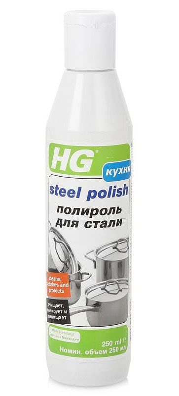 Полироль для нержавеющей стали HG, 250 мл320100Универсальное средство HG предназначен для полировки и защиты изделий из стали: вытяжек над плитой, конфорок, задних стенок печей, посудных сушек, кранов, раковин, холодильников, мебельных ручек, чайников, кастрюль, сковородок и т.д. Полирует до блеска и оставляет тонкий защитный слой, который упрощает последующую чистку поверхности.Состав: мягкие абразивы, консерванты, неионогены.