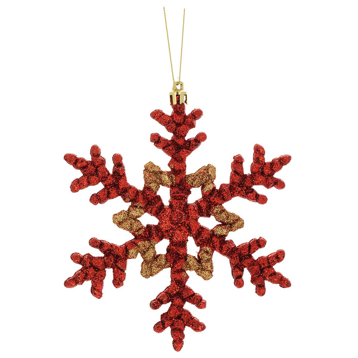 Новогоднее подвесное украшение Феникс-Презент Снежинка, цвет: красный, золотистый1069917Новогоднее украшение Феникс-Презент Снежинка, изготовленное из высококачественногопластика, прекрасно подойдет для праздничного декора дома иновогодней ели. С помощьюспециальной текстильной петельки его можно повесить в любомпонравившемся вам месте.Елочная игрушка - символ Нового года. Она несет в себе волшебство и красоту праздника.Создайте в своем доме атмосферу веселья и радости, украшая новогоднюю елку наряднымиигрушками, которые будут из года в год накапливать теплоту воспоминаний.