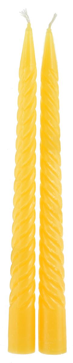 Набор декоративных свечей Lunten Ranta, цвет: желтый, высота 23 см, 2 штFS-91909Набор Lunten Ranta состоит из 2 декоративных витых свечей, изготовленных из парафина. Такой набор украсит интерьер вашего дома или офиса и наполнит его атмосферу теплом и уютом.Диаметр основания свечи: 2 см.