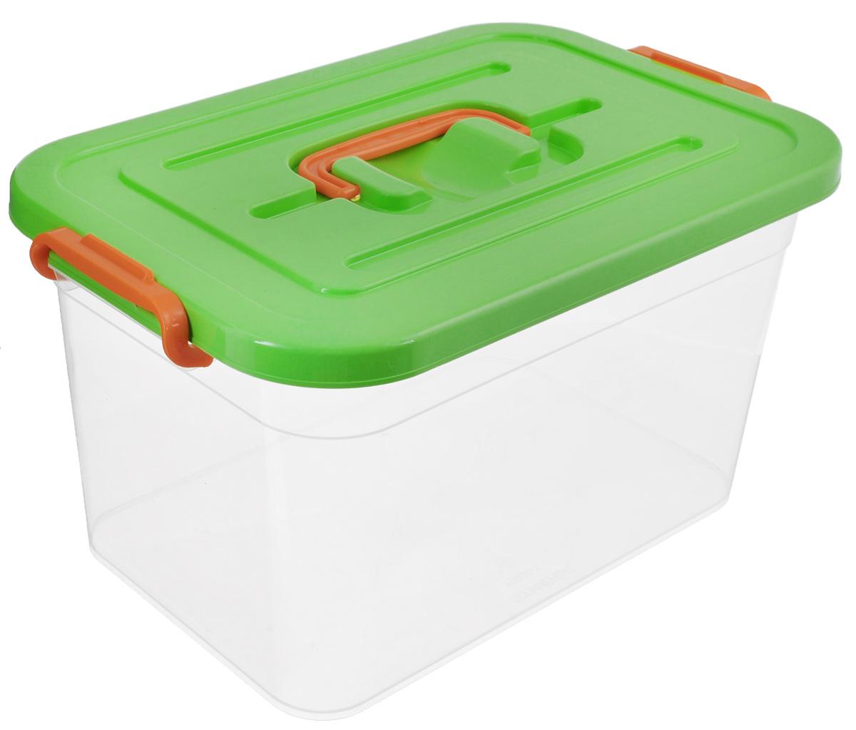 Контейнер для хранения Полимербыт, цвет: прозрачный, салатовый, 10 л1004900000360Контейнер для хранения Полимербыт выполнен из высококачественного полипропилена. Изделие снабжено удобной ручкой и двумя фиксаторами по бокам, придающими дополнительную надежность закрывания крышки. Вместительный контейнер позволит сохранить различные нужные вещи в порядке, а герметичная крышка предотвратит случайное открывание, а также защитит содержимое от пыли и грязи.