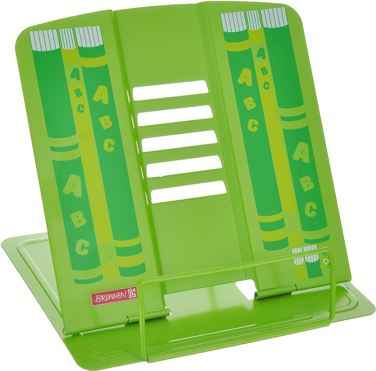 Подставка для учебников Brunnen, цвет: зеленый40401\BCD_зеленыйПодставка Brunnen, выполненная из металла, предназначена для книг и учебников. Подставка оснащена упором, благодаря которому она имеет несколько углов наклона.Яркая подставка с изображением книг станет для ребенка незаменимым аксессуаром в период обучения.Размер (в разложенном виде): 19,5 см х 22 см.