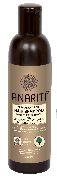 Anariti шампунь специальный против выпадения волос с маслом зародышей пшеницы и экстрактами дикого шафрана, имбиря и мяты,250 г19001Рекомендуется для ухода за ослабленными, склонными к выпадению волосами. Деликатно и тщательно очищает волосы и кожу головы. Экстракт дикого шафрана смягчает, укрепляет и питает кожу головы, стимулирует клетки волосяных фолликулов и улучшает в них кровообращение. Активные ингредиенты шампуня замедляют процесс старения волос, укрепляют и уменьшают их выпадение.