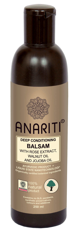 Anariti бальзам глубоко кондиционирующий с экстрактом розы, маслом грецкого ореха и маслом жожоба, 250 мл161102Рекомендуется для ухода за сухими и очень сухими волосами. Бальзам интенсивно увлажняет волосы, придает им объем, эластичность и жизненную силу. Экстракт розы успокаивает и тонизирует кожу головы. Масло грецкого ореха и жожоба питает, восстанавливает и защищает гидролипидную оболочку клеток кожи и волос. Благодаря высокому содержанию витаминов С и Е бальзам оказывает выраженный антиоксидантный эффект.