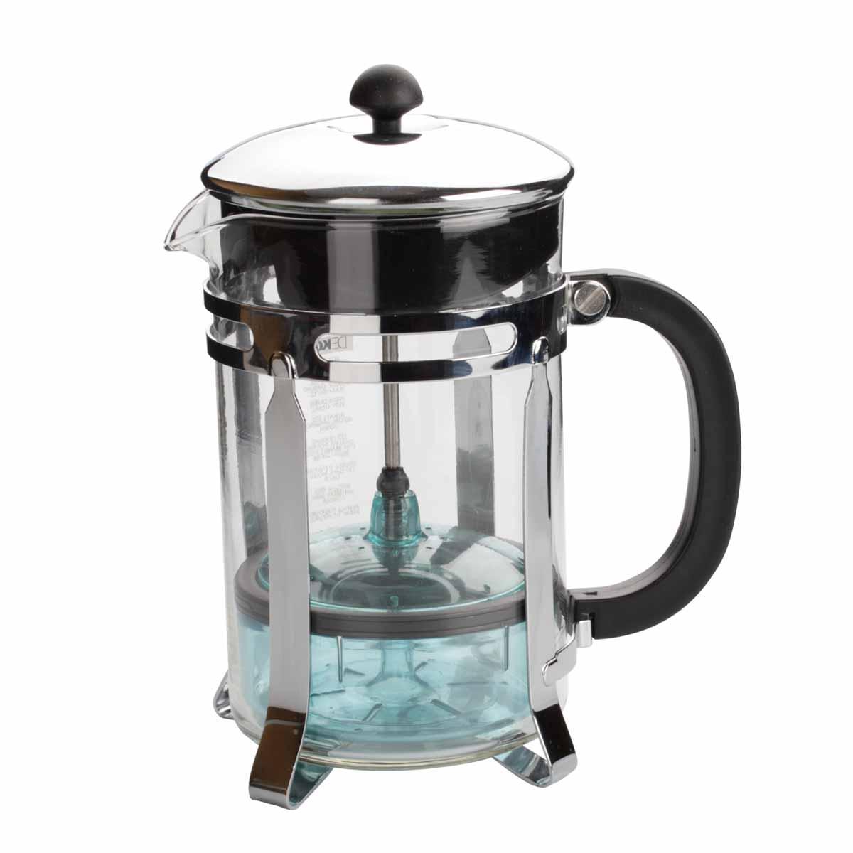 Чайник Dekok Press-Filter, 800 мл54 009312Чайник Dekok Press-Filter c встроенным в крышку пресс-фильтром в виде оригинального контейнера позволит приготовить за 3-5 минут несколько чашек чая или кофе. Изделие оснащено эргономичной пластиковой ручкой. Конструкция носика антикапля удобна для разливания напитков в чашки. Емкость чайника выполнена из жаропрочного стекла, основание - из стали. Надежное устройство фильтра обеспечивает идеальную фильтрацию ароматного напитка. Неоспоримым плюсом кухонныхустройств Dekok является: - инновационность - новый взгляд на привычные приспособления, возможность их настроек и регулировок,- многофункциональность - во многих изделиях идеально воплощен принцип все в одном,- индивидуальный подход - различные варианты комплектаций и размеров кухонных устройств позволят подобрать инструмент с учетом индивидуальных потребностей.Размер чайника (без учета крышки): 11 см х 9,5 см х 16 см.Объем: 800 мл.