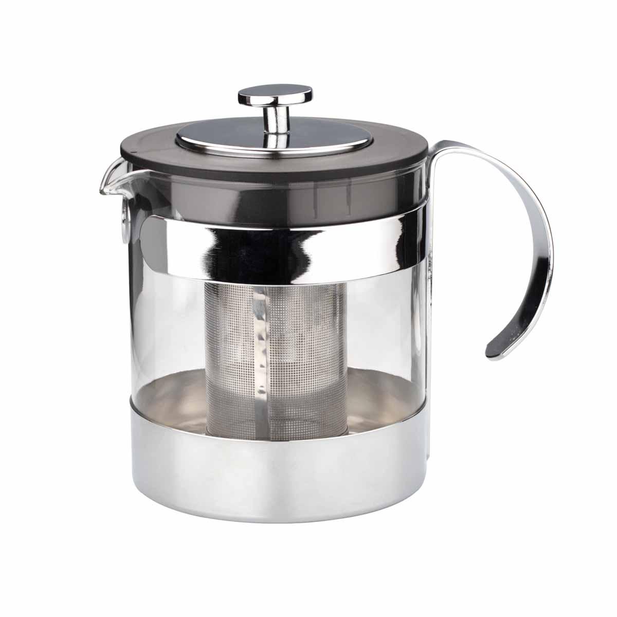 Чайник заварочный Dekok, 1,2 л115510Заварочный чайник Dekok изготовлен из термостойкого стекла - прочного износостойкого материала. Чайник оснащен фильтром и крышкой из нержавеющей стали.Простой и удобный чайник поможет вам приготовить крепкий, ароматный чай или кофе. Дизайн изделия создает гипнотическую атмосферу через сочетание полупрозрачного цвета и хромированных элементов. Не рекомендуется мыть в посудомоечной машине. Не использовать в микроволновой печи.Диаметр (по верхнему краю): 11 см.Высота (без учета крышки): 13,5 см.Высота фильтра: 9 см.