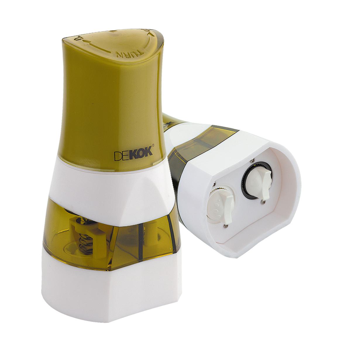 Прибор для измельчения специй Dekok, цвет: фисташковый, белый54 009312Прибор для измельчения специй Dekok изготовлен из ударопрочного акрила и нержавеющей стали. Помолочный механизм выполнен из керамики. Инновационный дизайн позволяет легко наполнять измельчитель и попеременно перемалывать 2 специи. Механизм оснащен регулятором размера помола. Прибор легко открывается, достаточно лишь потянуть вверх ручки помола. Идеально подходит для хранения специй и приправ.