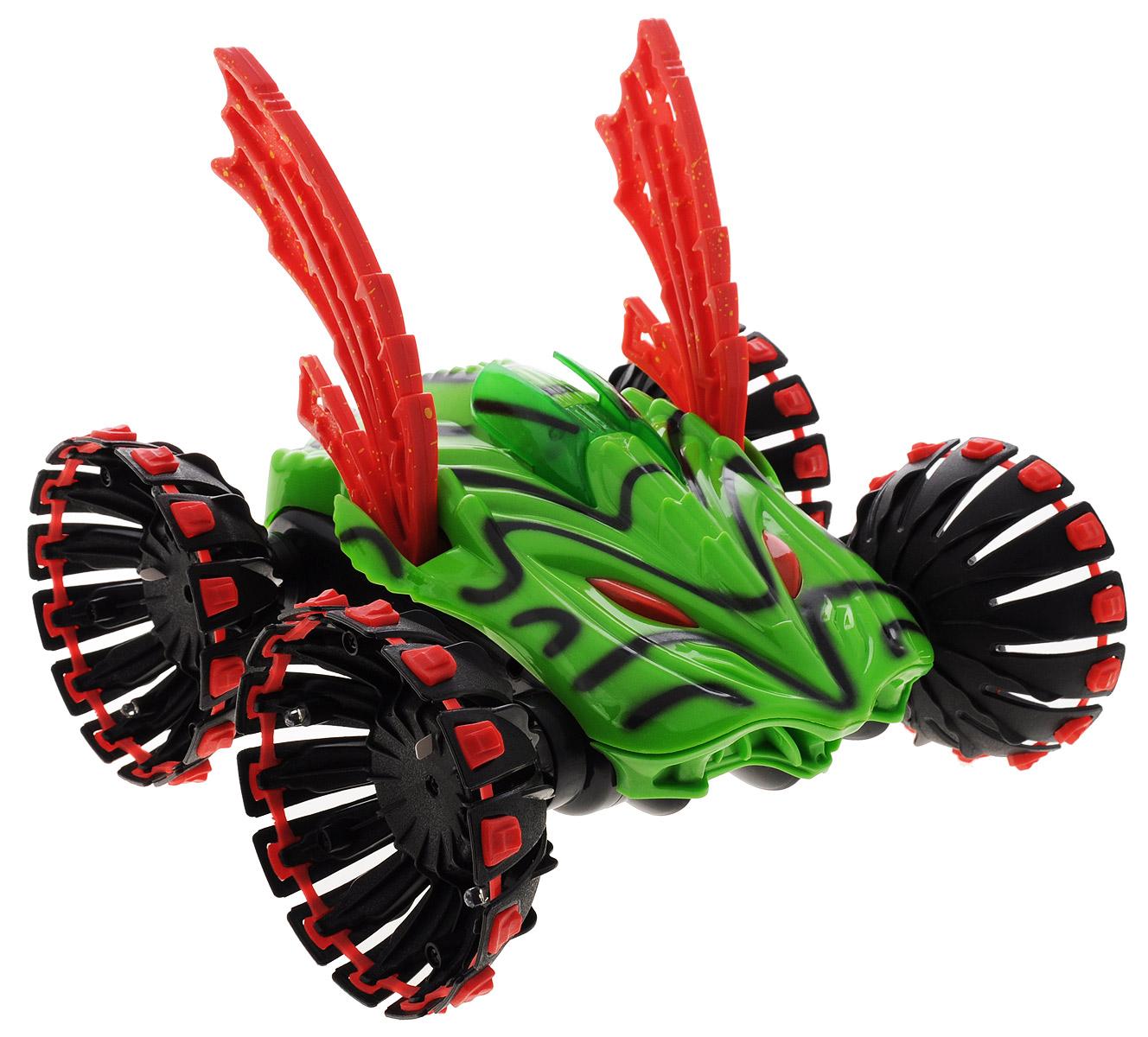 """Радиоуправляемая модель Balbi """"Машина-Автоакробат"""" станет отличным подарком любому мальчишке! Яркая зеленая окраска прочного корпуса с черными полосами, красные крылья, мощные колеса не оставят равнодушным юного гонщика. Машинка оснащена приводом на все колёса (4х4) и способна не только ездить, но и переворачиваться и даже ходить! Игрушка имеет 3 комплекта колёс для разных режимов игры, а с помощью трансформирующихся колёс машина будет шагать по поверхности. Автомобиль способен двигаться вперед-назад, и осуществлять разворот вправо-влево на месте, как танк. Во время движения машинки светятся элементы корпуса, также подсвечиваются колёса одного из комплектов. Пульт управления модели имеет радиус действия до 30 метров! Радиоуправляемая машина понравится всем любителям технически сложных игрушек! Машинка работает на аккумуляторе 9,6 V (входит в комплект). Зарядка аккумулятора осуществляется с помощью сетевого зарядного устройства (входит в комплект). ..."""