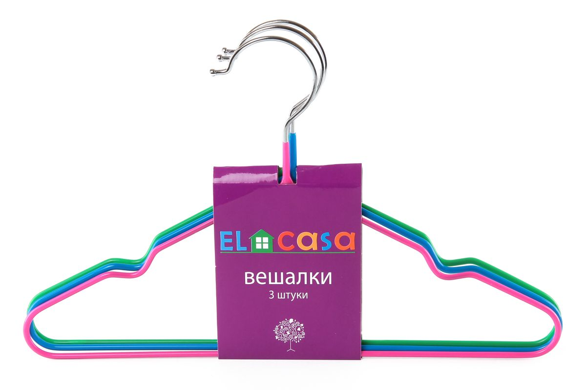 Набор детских вешалок El Casa, цвет: зеленый, розовый, голубой, 3 штEX-ZIP-MНабор вешалок El Casa состоит из 3 разноцветных вешалок, изготовленных изметалла c антискользящим покрытием. Изделия имеют легкий ипрочный каркас, закругленные края, перекладину и две выемки для юбок или маечек.Вешалка - это незаменимый аксессуар для того, чтобы одежда всегда оставалась в хорошем состоянии.Комплектация: 3 шт.Размер вешалки: 30 см х 0,4 см х 18,5 см.