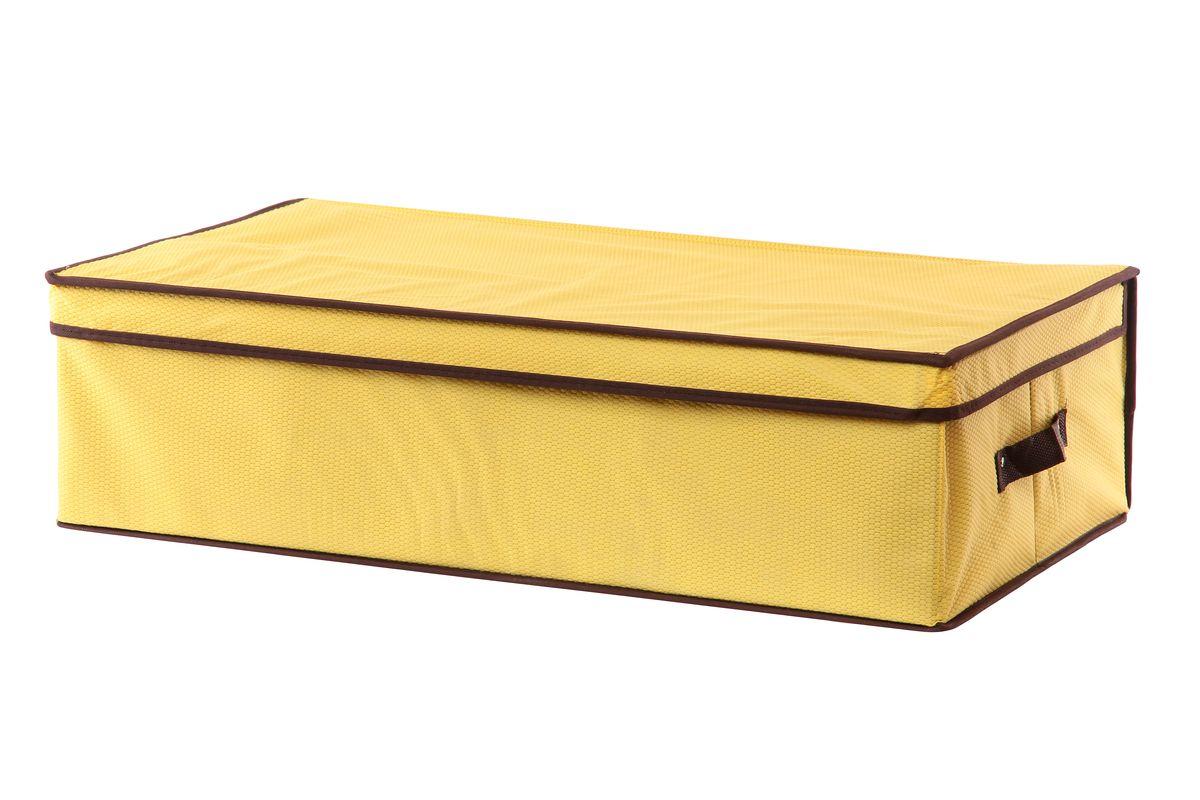 Кофр для хранения El Casa Соты, подкроватный, цвет: желтый, 70 см х 40 см х 20 смBW-4752Складной кофр El Casa Соты, выполненный из высококачественного нетканого материала, позволяет сохранять естественную вентиляцию. Благодаря картонным вставкам, кофр прекрасно держит форму, складывается и раскладывается одним движением. Для удобства в обращении по бокам имеются ручки. В сложенном виде изделие занимает минимум места, его легко хранить, как на полке так и под кроватью. В такой кофр можно складывать всевозможные предметы: вещи, игрушки, рукоделие и многое другое. Яркий дизайн привнесет в ваш интерьер неповторимый шарм.Размер кофра (в собранном виде): 70 см х 40 см х 20 см.