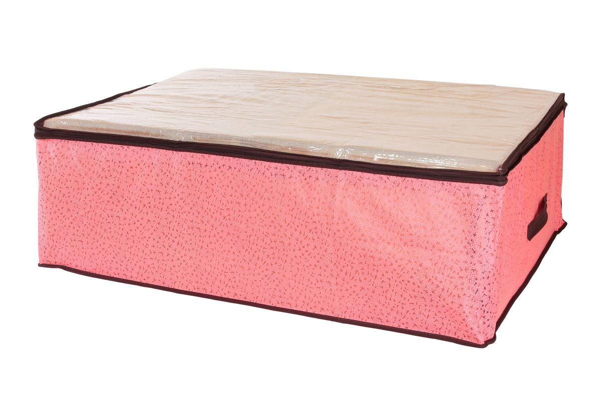 Кофр для хранения одеял и пледов El Casa Звезды, цвет: розовый, 80 х 60 х 25 см74-0060Вместительный кофр El Casa Звезды, изготовленный из дышащего нетканого волокна, предназначен для хранения одеял, пледов и домашнего текстиля. Кофр снабжен прозрачной крышкой из ПВХ, что позволяет легко просматривать содержимое. Специальный нетканый материал позволяет воздуху проникать внутрь, при этом надежно защищая вещи от грязи, пыли и насекомых. Закрывается на застежку-молнию.Оригинальный дизайн сделает вашу гардеробную красивой и невероятно стильной.Размер кофра (в собранном виде): 80 см х 60 см х 25 см.
