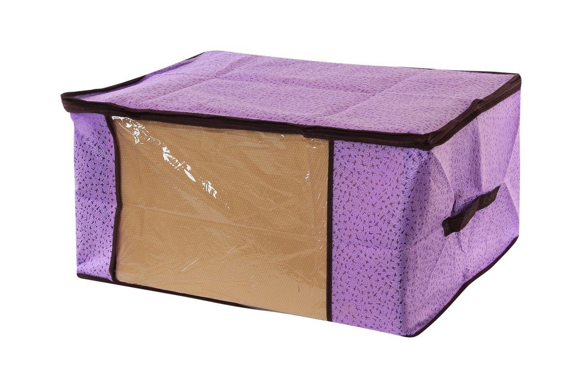 Кофр для хранения одеял и пледов El Casa Звезды, цвет: фиолетовый, 60 х 45 х 30 см12723Вместительный кофр El Casa Звезды, изготовленный из дышащего нетканого волокна, предназначен для хранения одеял, пледов и домашнего текстиля. Кофр снабжен прозрачной вставкой из ПВХ, что позволяет легко просматривать содержимое. Для удобства в обращении по бокам имеются ручки. Специальный нетканый материал позволяет воздуху проникать внутрь, при этом надежно защищая вещи от грязи, пыли и насекомых. Закрывается на застежку-молнию.Оригинальный дизайн сделает вашу гардеробную красивой и невероятно стильной.Размер кофра (в собранном виде): 60 см х 45 см х 30 см.
