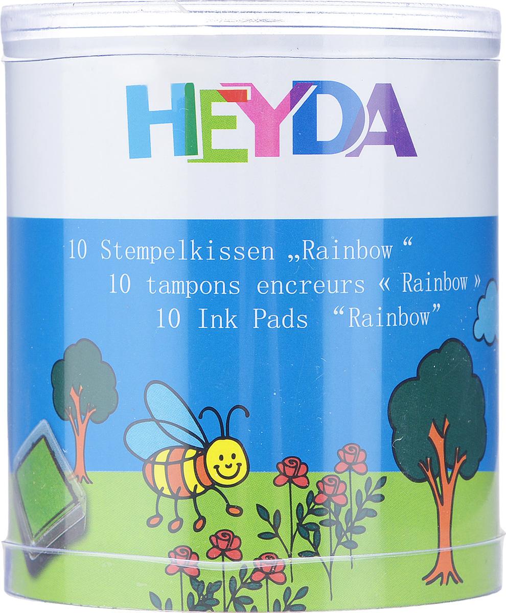 Штемпельная подушка Heyda для штампов, 10 штFS-00897Набор Heyda состоит из 10 штемпельных подушечек, предназначенных для использования с ручными штампами. Подушечки уже заправлены штемпельными разноцветными красками. Краски быстросохнущие, не содержат кислоты, оттиски получаются четкими даже на темной бумаге. Можно использовать для любой поверхности бумаги и картона.Штемпельные подушечки прекрасно подойдут для декора и оформления творческих работ в различных техниках, таких как скрапбукинг, оформление подарочных конвертов, коробок и многого другого. Оттиск такой печатью разнообразит вашу работу и добавит вдохновения для новых идей. Подушечки хранятся в пластиковых коробочках, что предотвращает их от высыхания.