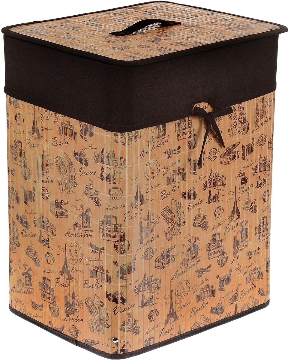 Корзина для белья Valiant, складная, с крышкой, цвет: коричневый, темно-коричневый, 30 см х 40 см х 50 смS03301004Корзина для белья Valiant изготовлена из бамбука и предназначена для сбора ихранения вещей перед стиркой. Корзина имеет каркасную конструкцию, которая обеспечивает легкость складывания и раскладывания корзины.Компактная и легкая, она не занимает много места, аккуратно хранит белье. Изделие оснащено легкой крышкой. Корзина для белья Valiant со стильным дизайном на тему путешествий гармонично смотрится в современном интерьере и станет незаменимым аксессуаром.
