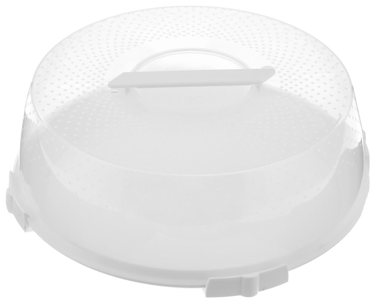 Тортница Cosmoplast Оазис, цвет: белый, прозрачный, диаметр 32 см2123_белыйТортница Cosmoplast Оазис изготовлена из высококачественного прочного пищевого пластика. Тортница имеет удобную ручку для переноски и прочные фиксаторы крышки. Может использоваться в микроволновой печи и морозильной камере (выдерживает температуру от -30°С до +110°С). Очень гигиенична и легко моется. Можно мыть в посудомоечной машине. Диаметр тортницы: 32 см. Внутренний диаметр тортницы: 28 см. Высота тортницы: 13 см.