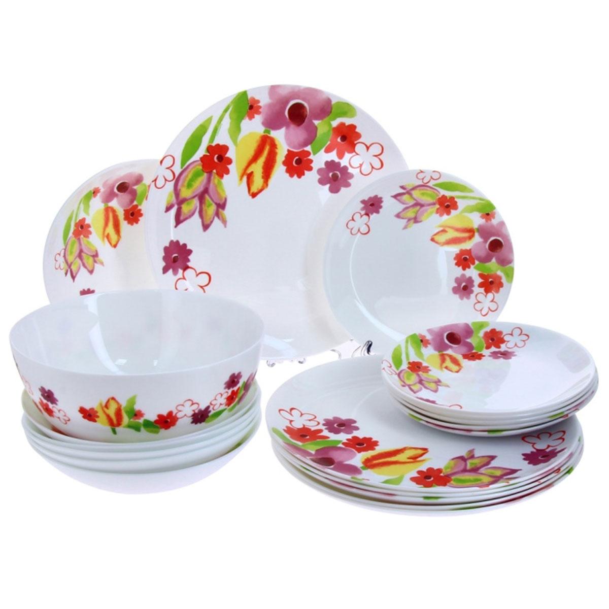 Набор столовой посуды Luminarc Dacha, 19 предметовH8735Набор Luminarc Dacha состоит из 6 суповых тарелок, 6 обеденных тарелок, 6 десертных тарелок и глубокого салатника. Изделия выполнены из ударопрочного стекла, имеют яркий дизайн с изящным цветочным рисунком и классическую круглую форму. Посуда отличается прочностью, гигиеничностью и долгим сроком службы, она устойчива к появлению царапин и резким перепадам температур. Такой набор прекрасно подойдет как для повседневного использования, так и для праздников или особенных случаев. Набор столовой посуды Luminarc Dacha - это не только яркий и полезный подарок для родных и близких, а также великолепное дизайнерское решение для вашей кухни или столовой. Можно мыть в посудомоечной машине и использовать в микроволновой печи. Диаметр суповой тарелки: 20 см. Высота суповой тарелки: 4.5 см.Диаметр обеденной тарелки: 27 см. Высота обеденной тарелки: 2 см. Диаметр десертной тарелки: 19 см. Высота десертной тарелки: 2 см. Диаметр салатника: 21 см. Высота стенки салатника: 9,5 см.