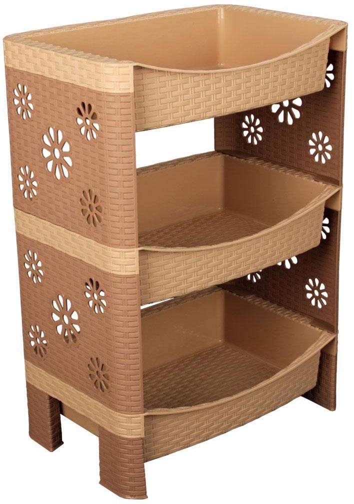 Этажерка Плетенка, 3-х ярусная, цвет: какао, 45 см х 30 см х 64 см1092019Этажерка Плетенка с тремя полками изготовлена из высококачественного пластика с эффектом плетения. Стенки украшены перфорацией в виде цветочков. Этажерка предназначена для хранения различных предметов на кухне или в ванной. На кухне в ней можно хранить посуду и кухонные приборы, а в ванной - различные ванные принадлежности. Изысканный дизайн позволяет использовать этажерку и в гостиной для хранения, например, книг или журналов. Легко собирается и разбирается.Этажерка очень удобная и компактная, но в тоже время вместительная.Этажерка Плетенка прекрасно впишется в интерьер помещения. Она поможет легко организовать пространство и хранить ваши вещи в порядке. Размер этажерки (ДхШхВ): 45 см х 30 см х 64 см. Размер полки (ДхШхВ): 45 см х 30 см х 10 см.