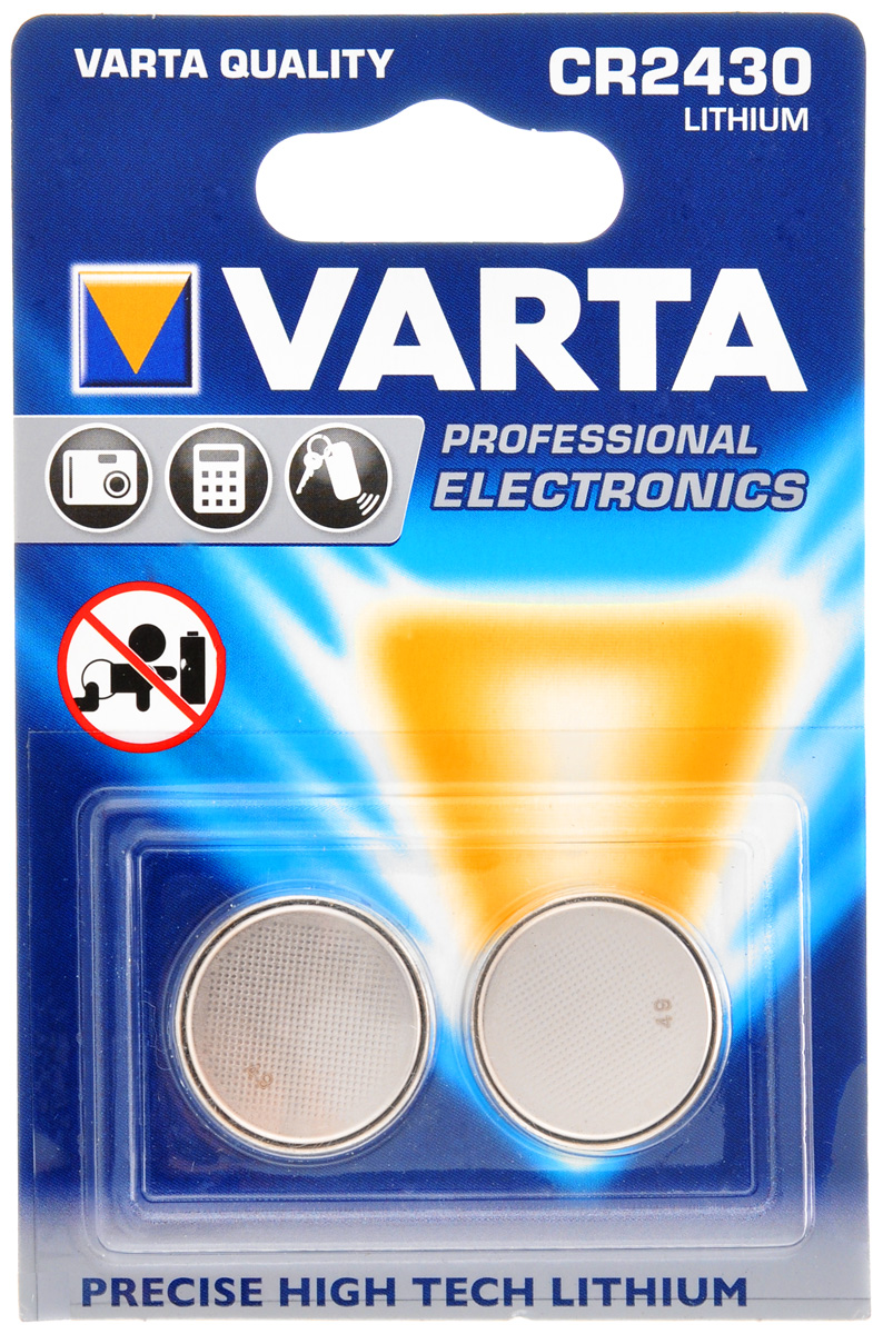 Батарейка Varta Professional Electronics, тип CR2430, 3В, 2 шт7372Батарейка Varta Professional Electronics обеспечивает высокую энергию для автомобильных ключей, калькуляторов, фотоаппаратов и других электронных приборов. В наборе - 2 элемента питания.