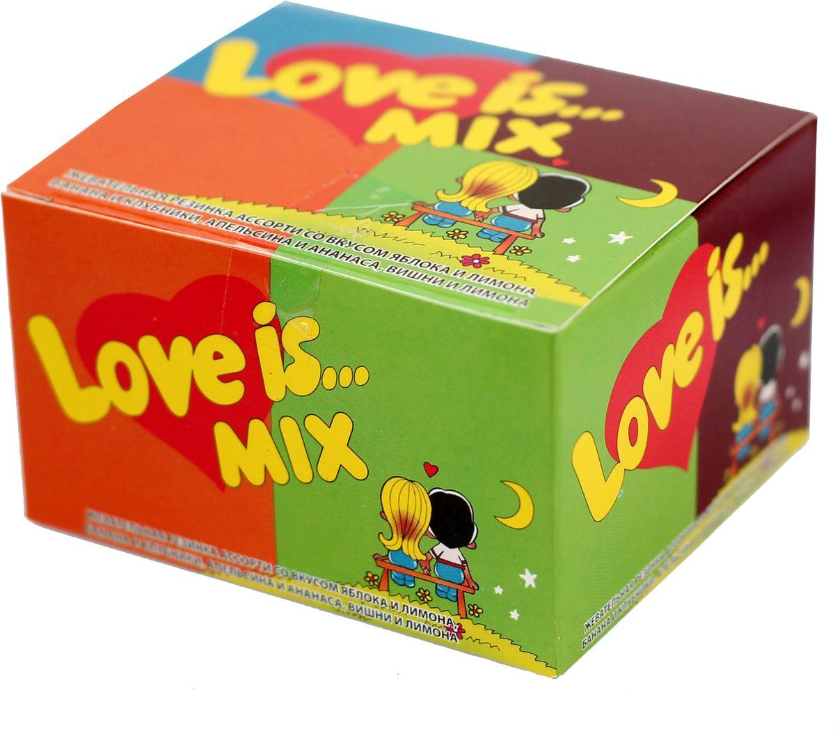 Love is Жевательная резинка, микс, 20 шт0120710Love is... сегодня не просто жевательная резинка, а культурное явление, знаковый продукт 90-х годов.Одна подушечка Love is... способна перенести вас в мир детства, а история на вкладыше — подарить отличное настроение! В упаковке - 20 жвачек ассорти, со вкусами яблока и лимона, банана и клубники, апельсина и ананаса, вишни и лимона.