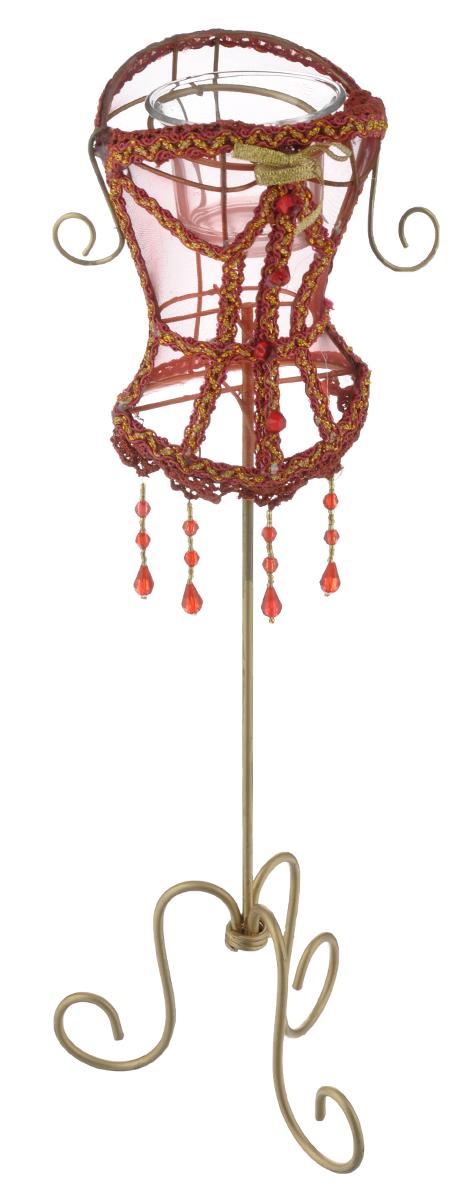 Декоративный подсвечник Феникс-презент Magic Time, цвет: бордовый, золотистый, высота 40 см15695Декоративный подсвечник Феникс-презент Magic Time, изготовленный из металла, полиэстера и пластика, - прекрасный выбор для тех, кто хочет сделать запоминающийся подарокродным и близким. Изделие выполнено в виде манекена со стеклянным стаканом для свечи (свеча в комплект не входит). Кроме того, подсвечник может хорошо вписаться в интерьер вашего дома или дачи.Размер стакана для свечи: 6 см х 6 см х 4,5 см. Размер декоративной части подсвечника: 13 см х 9 см х 14,5 см.