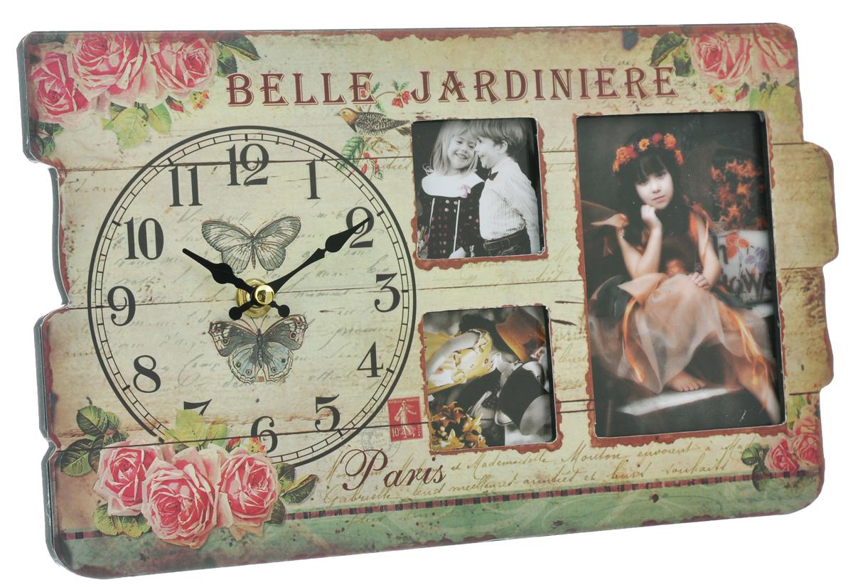 Часы настольные Феникс-презент, с 3 фоторамками, 32 см х 19 см х 2,7 см680268Настольные часы Феникс-презент выполнены из МДФ и декорированы оригинальным рисунком. Изделие оснащено 3 фоторамками разных размеров. Часы работают от одной батарейки 1,5V (не входит в комплект). Настольные часы Феникс-презент - прекрасный подарок и красивый предмет для декора интерьера.Материал: МДФ, стекло, пластик.Диаметр циферблата: 12 см.Размер фоторамок: 12 см х 8 см, 5 см х 5 см, 5 см х 5 см.