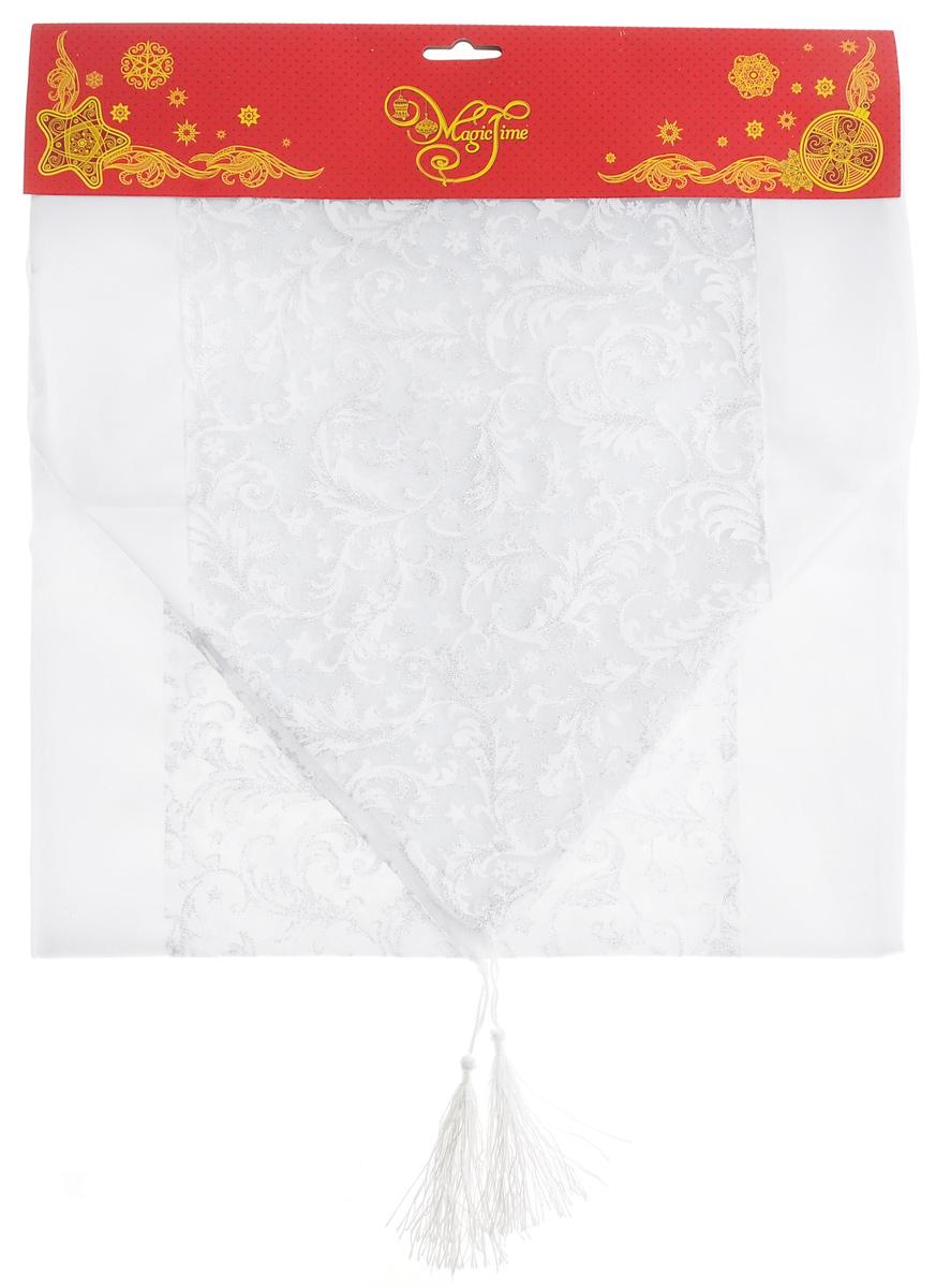 Дорожка для декорирования стола Феникс-презент Узоры, цвет: белый, серебристый, 35x 140 смВетерок 2ГФПрямоугольная дорожка Феникс-презент Узоры, изготовленная из полиэстера, предназначена для декорирования стола. Дорожка украшена ажурным узором и блестками. Изысканное оформление изделия придает ему необыкновенную легкость.Дорожка Феникс-презент Узоры станет великолепным украшением стола и создаст атмосферу уюта и домашнего тепла в интерьере вашей кухни.